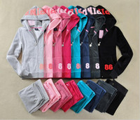 Mulheres suéteres manga comprida zíper Jogging Velour Tracksuits vs amor suor rosa Ternos Hoodies Suits Sportswear 2016 Sports Set