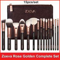 Розовое золото Zoeva набор кистей для макияжа 15pcs инструмент макияжа для лица и глаз Макияж Кисти вещевой мешок Eyeshadow Подводка Пудра Blush Brush