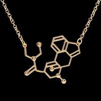 2016 moléculaire dopamine serotonine science colliers affeine colliers et pendentifs faits à la main personnalisé chimiques réactions vente chaude ZJ-0903375
