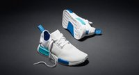NMD Runner Boots White Blue Running Shoes Men' s Women&#...