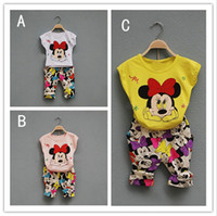 3 Color girl Mickey Minnie dot bowknot Suits new children ca...