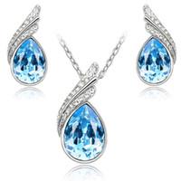 Date Earring Collier Autriche Bijoux en cristal Set avec strass collier et boucles d'oreilles de mode ensemble de bijoux en cristal femmes