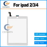 Bonne qualité Testé pour l'iPad 2/3/4 écran tactile numériseur en verre Avec le bouton d'accueil Assemblage + Autocollant Blanc / Noir Expédition rapide