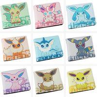 9pcs set Poke Pikachu Eevee Family Colorful PU Purse Wallet ...