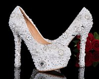 Shoes, Wedding Shoes, Crytal Peals High heels Rhinestone Brida...