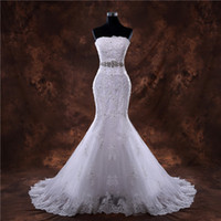 Romantic Mermaid Sweetheart Appliqued Wedding Dress With Cry...