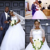 South African Plus Size Ball Gown Wedding Dresses Sheer Neck...