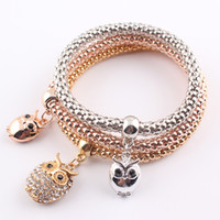 Vintage Gold Plated Crystal Owl Charms Bracelets New Style B...