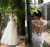 Lace Long Beach Wedding Dresses Floral Nude Pink Fashion She...