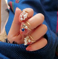 Pearl Nail Ring Gem Rhinestone Crystal Rings Cat Leaf Set Fi...