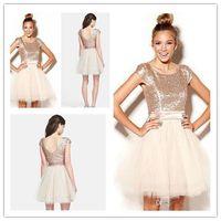 2016 Короткие розовое золото Блестки для подружек невесты платья Jewel Cap рукавом Mini Shinning Формальное Дешевые плюс размер Дешевые Пром платья B32068
