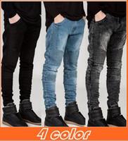 Mens homens skinny jeans nova Runway Afligido slim jeans elástico calça jeans jeans Biker calças jeans hiphop Lavado preto para homens azul hight qualidade