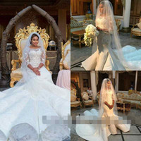 2017 Последним мусульманская Mermaid Кафтан Дубай арабское Свадебные платья Бато шеи 3/4 с длинным рукавом Кружева суд поезд свадебное платье сшитое