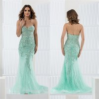 Mint Backless Beads Appliques Prom Gowns Sweetheart Neckline...