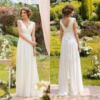 2016 Wedding Dresses A- line V- neck Pearls Floor Length Ivory...