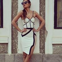 2016sexy spaghetti straps bust white nude and black colorblo...