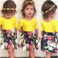 2016 new children' s clothing girls short sleeve yellow ...