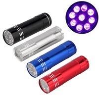 Aluminium Mini Portable UV DHL rapide Livraison gratuite Haute Qualité Ultra Violet Blacklight 9 LED lampe torche de lumière