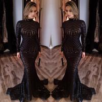 Sparkling Black Sequins Mermaid Evening Dresses 2017 Michael...