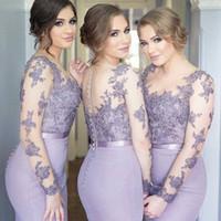 Lilac Purple Long Sleeve Bridesmaid Dresses Mermaid Chiffon ...