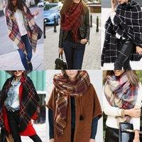Женщины Plaid шарф Одеяло Крупногабаритные Шотландка шали обруча Cozy Проверено пашмины с кисточкой платка 20 конструкций 300pcs OOA609