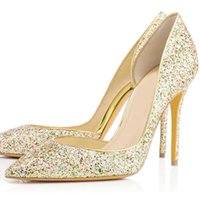 Multi- color Bling Sequins Gold Wedding Shoes for Bride Point...