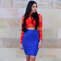 2016 new summer orange and blue two pieces set mesh long sle...