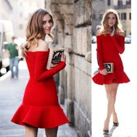 Red Mini Evening Dress women Formal Dress long sleeve off sh...