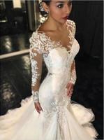 Glamorous V- Neck Long Sleeve Lace Wedding Dress Tulle Mermai...