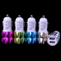 Aluminum Alloy 2. 1A+ 1A dual usb ports car charger adapter fo...