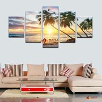 Горячие Продаем 5 Панель Wall Art Холст Морской пейзаж маслом Домашнее украшение Стена Картины для гостиной Печать холст Unframed