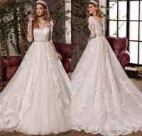 Robe de Mariage A- Line Lace Tulle Vintage Wedding Dresses De...
