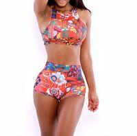 Sexy girl high waist swimsuit push up bikini women bathing s...