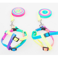 100sets lot Adjustable Rainbow color Pet Dog Leash Puppy Cat...