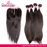 7A Wholehead Top Lace Closure with 4pcs Hair Bundles Brazili...