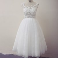 Cap Sleeves Backless Tulle Beach Wedding Dress With Lace App...