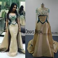 3D-цветочные Над юбки Вечерние платья Реальные изображения шампанского и зеленый Sheer Jewel Hollow Назад Съемные Поезд Формальное Пром платья