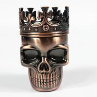 Alliage Tobacco King Fashion Métal Herb Grinder poche avec 3 couches en métal Herb tabac crâne Grinders Cigarette machines Détecteurs
