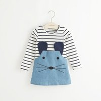 Casual style long sleeve Striped lovely little mouse design ...