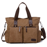 Casual Men' s Canvas Handbag Large Capacity Laptop Bag F...