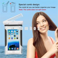 PVC accesorio del teléfono de la carpeta de prueba de agua caja del teléfono móvil del salto con el peine para el iphone SE bolsa bolsa / 6s / 6splus / 7