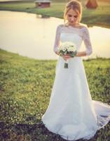 Western Country Свадебные платья 2016 года Романтическая линия Лодка шеи с длинными рукавами Кружева Свадебные платья на заказ бифштексы Свадебные платья