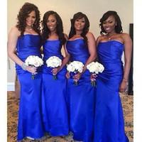 2016 Royal Blue невесты Платья Свадебные атласная Милая Русалка Событие горничной честь подружка невесты честь платье