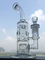 Bong en verre 8 pouces d'épaisseur Rigs huile recycleur Conduites d'eau Bongs Bubbler avec bol en verre joint de 14.4mm fumeurs