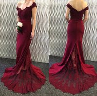 Dark Red Lace Mermaid Evening Dresses Sweep Train Long Prom ...