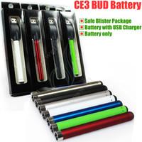CE3 Bud tactile O stylo batterie avec chargeur USB Blister 280mAh cigarette électronique CDB huile épaisse épaisse fumer Waxy cire 510 Vaporisateur DHL