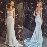 Illusion Beaded Applique Mermaid Wedding Dresses Backless Br...