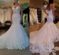 2016 Custom Made Mermaid Lace Wedding Gowns Sexy Sweetheart ...