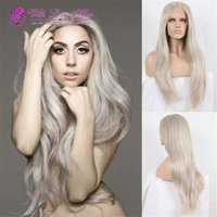 180 Density Long Grey Synthetic Lace Front Wig Ladygaga Plat...