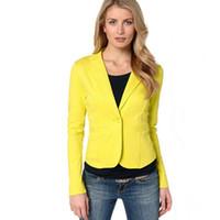 Candy Color Women Suit Sports Jacket Fashion Single Button S...